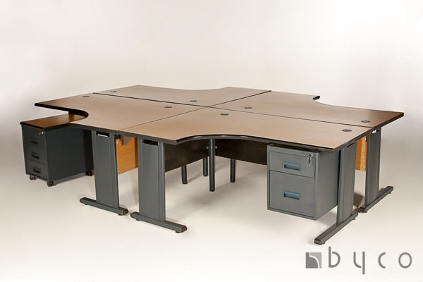 4-Way-Galaxy-pod-Desk-1600-x-905-Complete-with-3-drawer-mobile-and-screen-partitioningHarare-Zimbabwe
