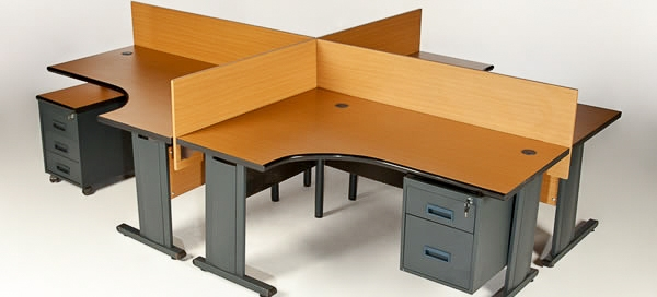 4-Way-Galaxy-pod-Desk-Completed-with-3-drawer-mobile-and-screen-partitioning-Harare-Zimbabwe